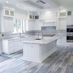 Brazilian Tiger Blue Tile - 8x48 Matte Porcelain Tile Home Kitchens, Kitchen Floor Tile, Kitchen Design, Kitchen Flooring, Modern Kitchen, White Kitchen Design, Home Decor Kitchen, Kitchen Interior, Kitchen Layout