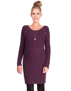 100% cotton Chunky cable knit detailing Popper nursing access at the shoulders Above the knee Long sleeves Chic, cosy & easy to wear, our Burgundy Knitted Maternity & Nursing Dress is a winter wardrobe winner, providing a flexible fit through pregnancy & easy nursing access afterwards. Crafted in a natural cotton knit, the dress hugs your curves, growing with you throughout your nine months, and snapping back into shape afterwards. Chunky cable knit detailing brings l...