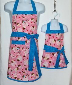 Mommy and Me Aprons Pink Cupcake Aprons Pink by AGiftToTreasure