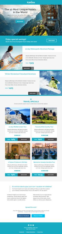 Kahuna is a super responsive Multipurpose #newsletter that adapts to desktop, tablet and iPhone browsers. #travel #holiday #agency #emailtemplate
