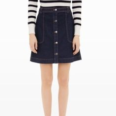Limited Jeans skirt Limited jeans skirt.  Size 2.  Brand new, never worn.  Tag is missing but still has hook (see pic3).  No trade.  No PP.  Price is firm unless bundle.  First pic is a different skirt but similar look.  I post it for visual to see how it would look if model. limited jeans Skirts