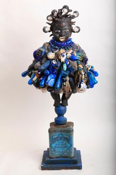 "21stcenturyjuju:  material witness: ""hand filled, ready rubbed: figure to protect from the rage of blues & the blues of rage. vanessa german 2011, mixed media"