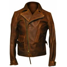 Captain America Movie Costume Distressed Brown Leather Jacket Mens - 3XL / Real Leather
