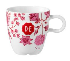 D.E Hylper cappuccinomok - wit rood, roze, white red, pink  #mok #mug #coffee #HylperHeritage #DouweEgberts