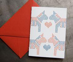 Dala Love  Letterpress cross stitch card by pistachiopress on Etsy