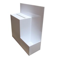 A bespoke wall mount suggestion box fabricated by Shop Display Systems with a lockable door underneath for ease of access. Contact us for all bespoke display needs!