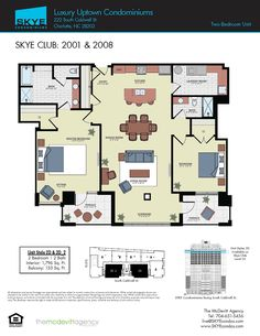 SKYE Condominiums Floor Plans | Charlotte Penthouse floor plans | Layout of Luxurious Homes in Charlotte