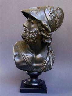 Skulptur Ajax Antike Troja Ilias Grand Tour Metall Regule um 1890