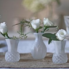 Frosted White Glass Bud Vase wedding table decorations  - available from www.theweddingofmydreams.co.uk #theweddingomd @theweddingomd