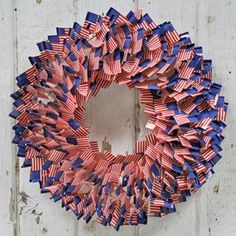 Patriotic decoration -- a flag wreath made out of flag toothpicks.