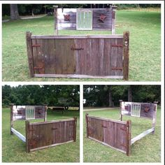 Handmade bed out of an old Schroeder family IA barn. Made by Chris Jones. Bed Ideas, Outdoor Furniture, Outdoor Decor, Home Renovation, Outdoor Storage, Beds, Projects, Handmade, Home Decor