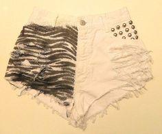 vintage high waist bongo zebra print studded