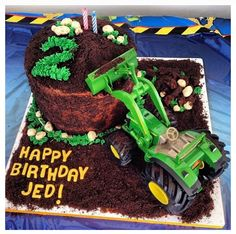 John Deere Birthday Cake: John Deere Toy Tractor with Oreo Cookies & Cream Dirt Cake.