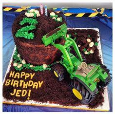 John Deere Birthday Cake: John Deere Toy Tractor with Oreo Cookies & Cream Dirt Cake.