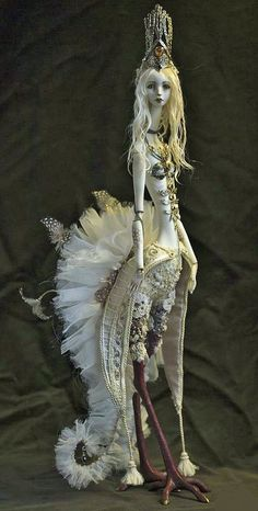 """""""White Siren"""" by Dorote Zaukaite Fairy Dolls, Ooak Dolls, Ball Jointed Dolls, Fantasy Creatures, Mythical Creatures, Sculpture Art, Sculptures, Enchanted Doll, Arte Horror"""