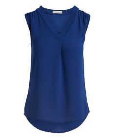 Sleek and simple, this layering V-neck completes your professional style with figure-flattering flow and lightweight comfort. Size S: 27'' long from high point of shoulder to hem100% polyesterMachine wash; hang dryImported