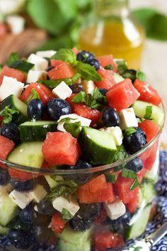 Watermelon Blueberry Feta Salad - The Suburban Soapbox Watermelon Cucumber Feta Salad, Watermelon Fruit, Cucumber Recipes, Veggie Recipes, Greek Recipes, Salad Recipes, Recipes Using Fruit, Summer Side Dishes, Steak Salad
