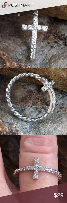 Selling this Sterling CZ Petite Cross Ring on Poshmark! My username is: cigi36. #shopmycloset #poshmark #fashion #shopping #style #forsale #Jewelry