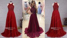 Best Burgundy A-line Chiffon Long Prom Dress For Girls - Millybridal.org