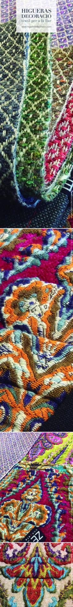 Telas con estampado de cachemira o paisley. Estampados de lujo con una exquisita combinación cromática. Para tapizar sofás, sillas, butacas, cojines…  www.higuerasdecoracio.com