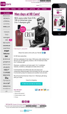 Email Newsletter Template. HB Care Men days: hair care for men including additional product! Sent on Januari 20, 2016.