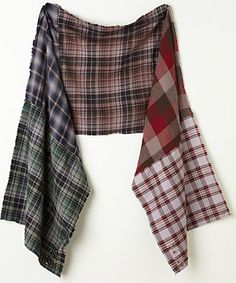 sewing old plaid shirts together to make a scarf.