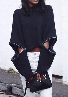 Black Plain Zipper Cut Out Fashion Pullover Sweater