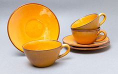 Retro 1960s Danish Brack and Sønner B&S tea / coffee cups and saucers from TheThirdQuarter on Etsy