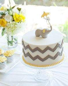 Grey and Yellow elephant theme baby shower cake