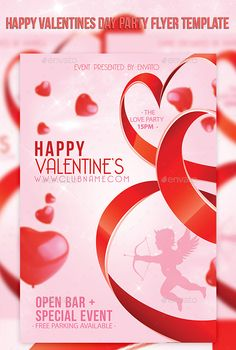 Happy Valentines Day Party Flyer Template — Photoshop PSD #love #valentines party • Available here → https://graphicriver.net/item/happy-valentines-day-party-flyer-template/10245245?ref=pxcr