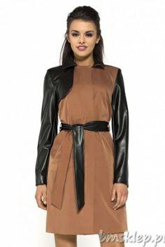 Jesienno-wiosenny #płaszcz z tkaniny i eko-skóry Autumn-spring #coat (textiles and eco-leather)
