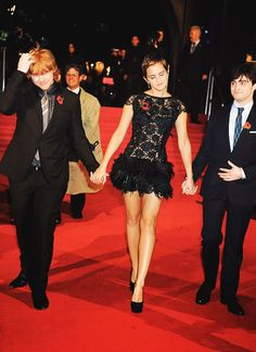 Rupert Grint, Emma Watson and Daniel Radcliffe at Harry Potter and the Deathly Hallows - Part 1 London Premiere.