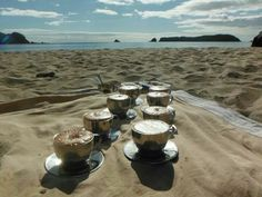Coffee & hot chocolate on a canoe break in Cathedral Cove - I was here :-)