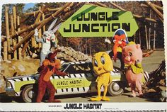 "Back text: ""JUNGLE HABITAT Looney Tunes cartoon characters come alive at Jungle Junction in Warner Bros. Jungle Habitat, West Milford, N., the acre drive-through wildlife preserve just outside New York City. Summer Memories, Childhood Memories, West Milford, Reptile House, Seaside Heights, Looney Tunes Cartoons, Baboon, Zoo Animals, Wild Animals"