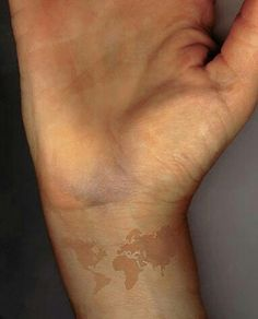 Map tattoo - I'd like to use this colour for my sunflower tattoo, so it's less obvious.