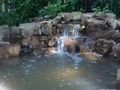 Birth of a new waterfall! Recent project completed by Gem Ponds.