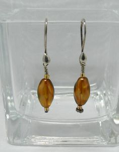 Graceful, Simple Handmade Earrings, Metallic Brown Color Preciosa Beads, 1 1/2 Inch Drop, Sterling Silver Ear Wires, Office or Casual Wear by ElysiumUniqueJewelry on Etsy