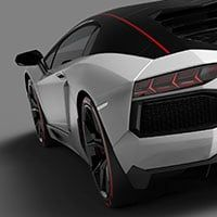 Three-quarter view of a Lamborghini Aventador Pirelli as seen from the rear and set on an undistinguished background.
