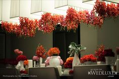 WedLuxe: red + pink florals