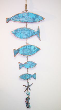 BEACH WALL HANGING, Upcycled Wood, Fish Cutout, Wall Decor, Painted Fish, Starfish, Painted Oysters
