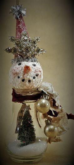 "SNOWMAN Assemblage Ornament, Mixed Media Original, Christmas Ornament, ""NOEL WINTERS"" Handmade by Lori Cottam"
