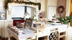 Holiday Gathering | Adorno - Jodi Tinkler's set the kitchen up as stations around the island so there is plenty of room for guests to mingle and graze. #holidaypartyplanning #holidayparty #cookieexchange #joditinkler #TheEventShoppe #cookies #cookieparty #holidaycookies