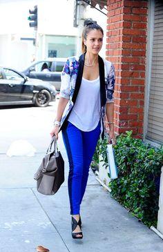 Happy hour style: white tee + patterned blazer + tuxedo pants