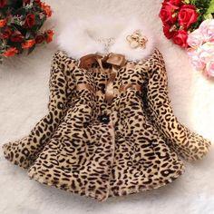 Stylish Long Sleeve Fur Collar Leopard Print Self-Tie Coat For Girls