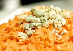 Buffalo Chicken Dip - Awesome stuff!!!!  I used ranch instead of blue cheese, omitted blue cheese crumbles, Frank's Buffalo-Style Hot Sauce, and used 2 shredded chicken breasts instead of canned chicken.  Serve with celery sticks, toasted French bread, and tortilla chips.  Very easy and yummy!!!  Thanks, @Heather Creswell Blettel !!!