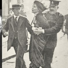 Suffrage. Pankhurst getting arrested for daring to ask to vote.