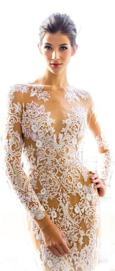 Cheap Zuhair Murad Ss See Through Nude White Lace Embroidered Gown Dress With Wedding