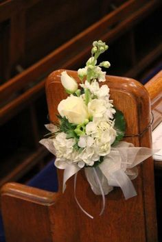 The Pew end posies included fragrant white Stocks, white Freesia, Roses, Anemones and Hydrangea florets<br> Wedding Pew Decorations, Wedding Pews, Wedding Bouquets, Wedding Church, Gatsby Wedding, Church Pew Flowers, Aisle Flowers, Pew Ends, Deco Table
