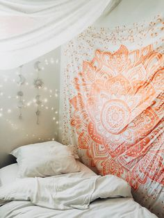 Lady Scorpio | @Ladyscorpio101 ☽☽ ladyscorpio101.com ☆ Tis the Season to be Decorate! Perfect Bedroom Decor for the Hippie at heart ♡ Shop Lady Scorpio for the ultimate stocking stuffers for the Holidays! Gold & Blush Pink Mandala Tapestry & copper fairy string lights with Moon Phase