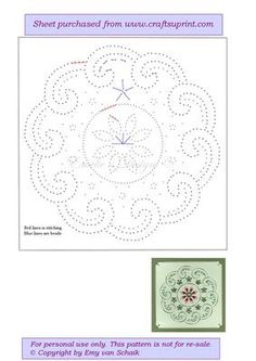 ED025 Mandala 1 on Craftsuprint designed by Emy van Schaik - Stitching with beads - Now available for download!
